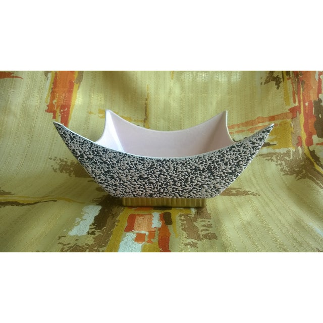 Image of Retro Ceramic Pink and Black Atomic Planter/Dish