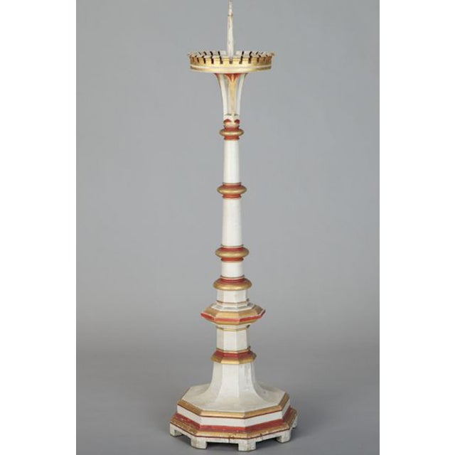 Antique 19th C. White & Red Gilded Pricket Stick - Image 5 of 5