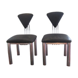 Postmodern Black & Chrome Chairs - A Pair