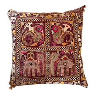 Indian Embroidered Textile Pillow