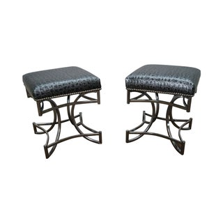 Mid-Century Chrome & Faux Leather Benches - A Pair