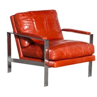Milo Baughman Leather & Chrome Chair