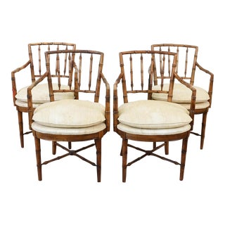 Drexel Faux Bamboo Chinoiserie Chippendale-Style Armchairs