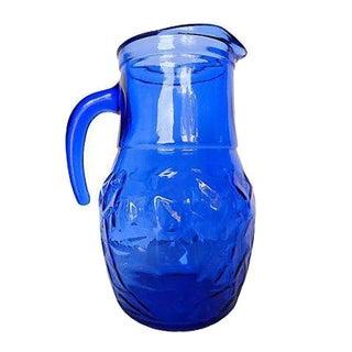 Mid-Century Cobalt-Blue Thumbprint Pitcher