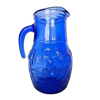 Mid-Century Cobalt-Blue Thumbprint Pitcher