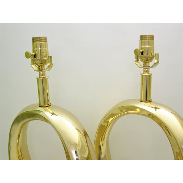 Restored Pierre Cardin Mid-Century Modern Solid Brass Logo Designer Lamps - a Pair Millennial - Image 10 of 11