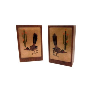 Signed Wood Enamel RoadRunner Cactus Bookends