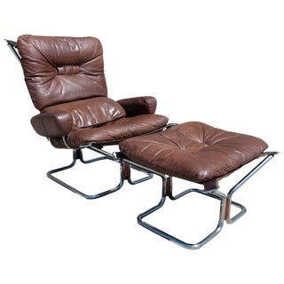 Ingmar Relling for Westnofa 1969 Danish Mid-Century Modern Leather & Chrome Lounge Chair and Ottoman