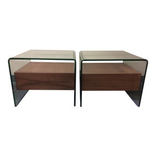 Waterfall Glass & Wood End Tables - A Pair
