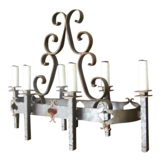 French Wrought Iron 6 Light Chandelier