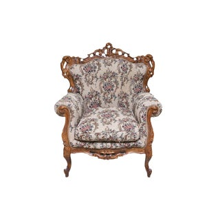 Ornately Carved Wooden Victorian Style Floral Upholestered Armchair