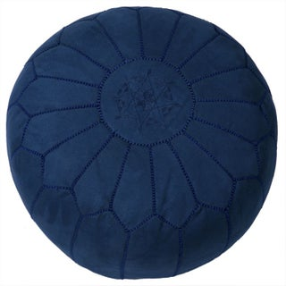 Suede Leather Pouf - Blue