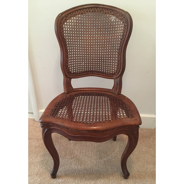 Image of Antique French Hand-Carved Caned Side Chair