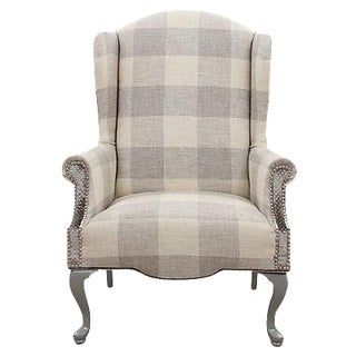 Queen Anne Plaid Wingback Chair