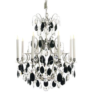 Baroque Chandelier - Nickel & Black Drop