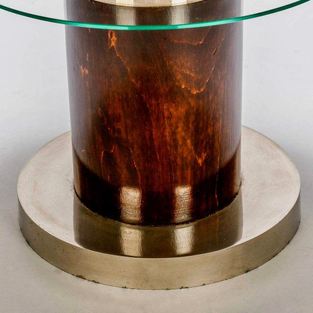 French Art Deco Macassar and Glass Table with Chrome Base - Image 5 of 7