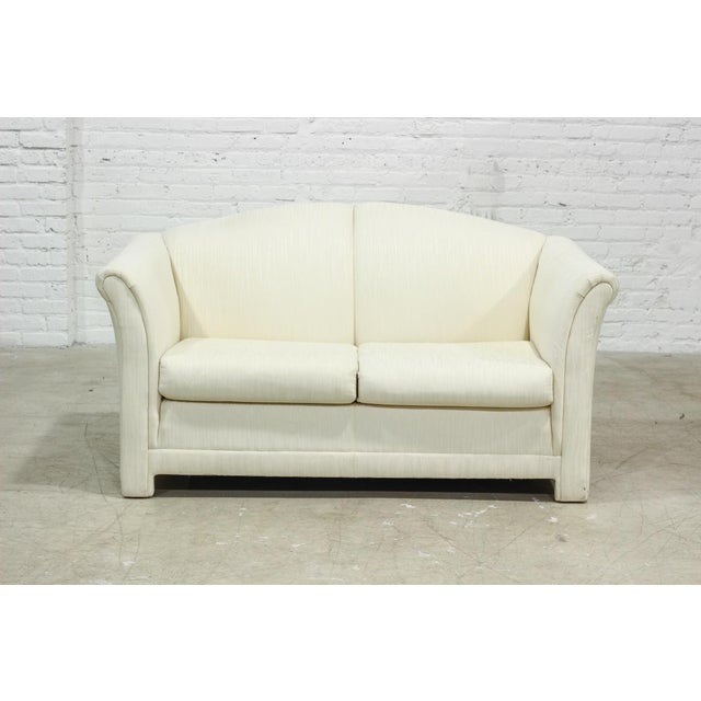 Image of Mike Bell White Upholstered Love Seat Sofa