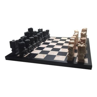 Carved Aztec-Style Marble Chess Set