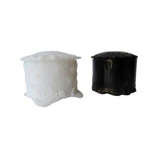 Black & White Milk Glass Vanity Boxes - Pair