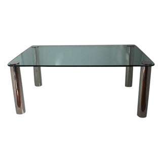 Pace Dining Table With Chrome Legs and Glass Top