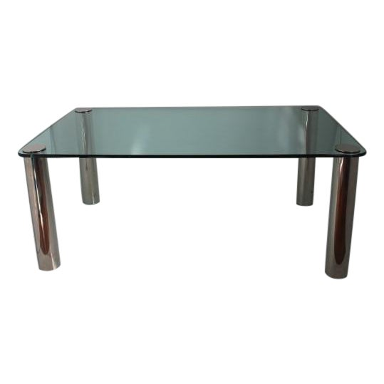Image of Pace Dining Table With Chrome Legs and Glass Top