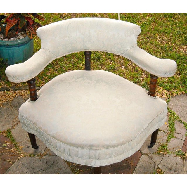 Antique Victorian Walnut Tub Chair - Image 3 of 9