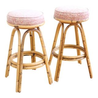 Vintage Boho Chic Rattan Bamboo Swivel Bar Stools - Set of 2