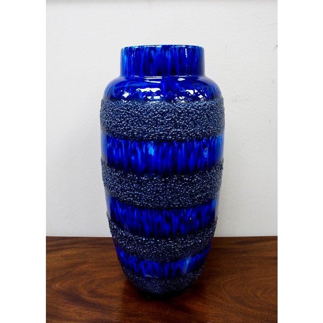 Scheurich Keramik Vintage Blue Fat Lava Floor Vase - Image 4 of 6