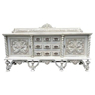 French Hand-Carved White Server