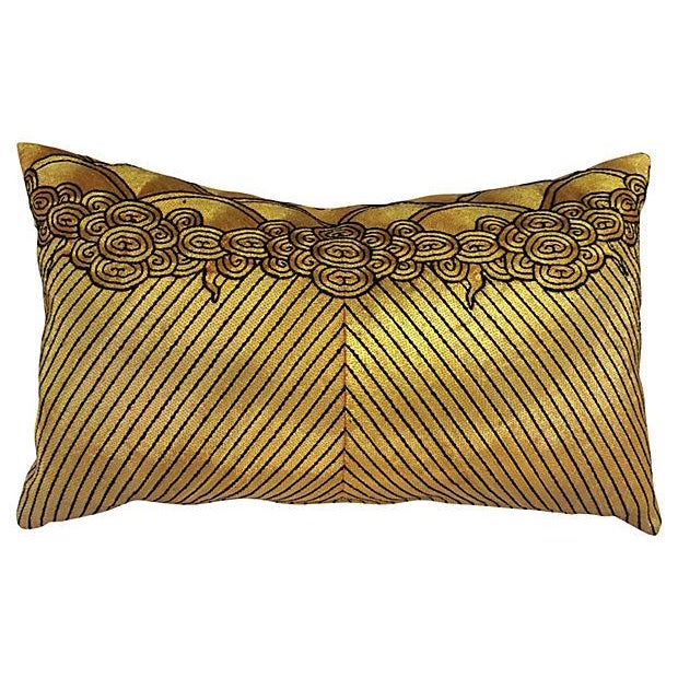 Gold Beijing Embroidered Opera Robe Pillow - Image 1 of 4