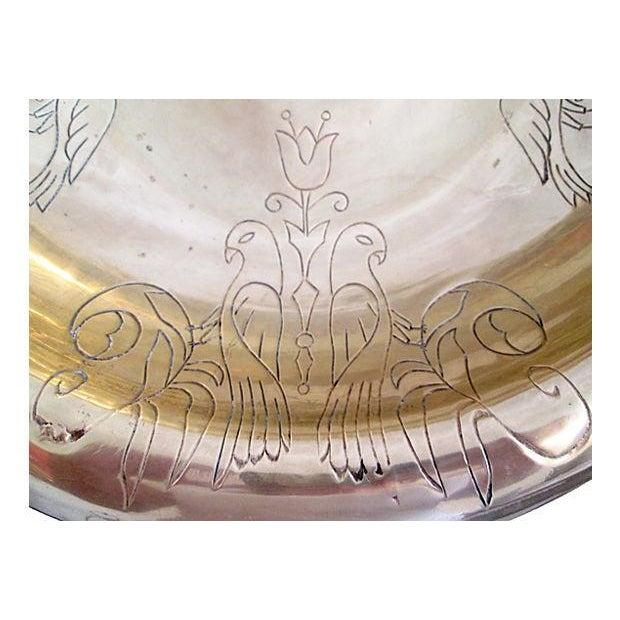 Image of Vintage Brass Kissing Doves Centerpiece Bowl