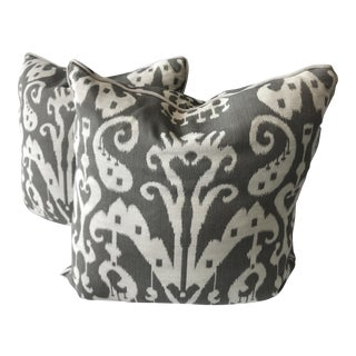 Gray & White Ikat Throw Pillow Covers - A Pair