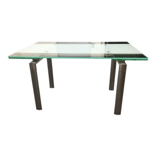 Modern Extendable Glass Top Chrome Dining Table