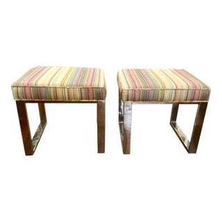 Pair of Transitional Nickle Dylan Nickel Benches