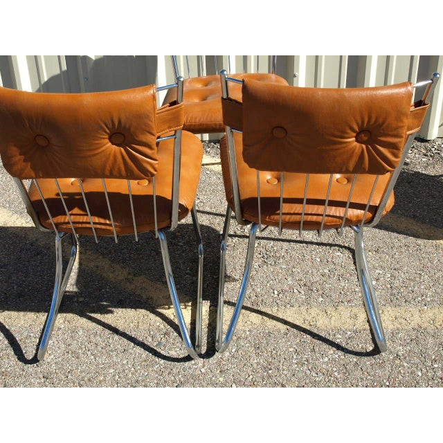 Image of Daystrom Chrome And Vinyl Padded Chairs - Set of 5