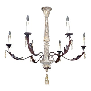 Pair of Monumental Italian Style Six-arm Chandeliers
