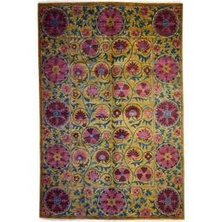 """Suzani, Hand Knotted Area Rug - 6'3"""" X 9'2"""""""