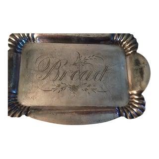 "Quadruple Silver Plate Platter Engraved ""Bread"""