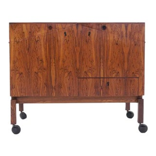 Leif Alring Rosewood Portable Bar Cabinet or Serving Cart