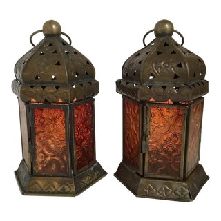 Moroccan Tea Light Lanterns - A Pair