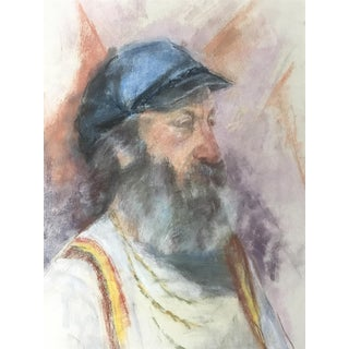 Vintage Pastel Portrait Painting of a Bearded Man