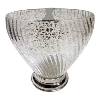 Deco Swirl Crystal Gold Fleck Vase With Silver
