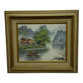 "J. Baker Original Framed ""Village on the Water"" Painting on Canvas"