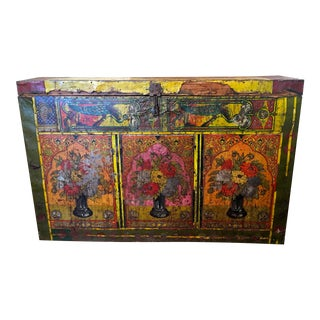 Antique Boho Chic Painted Trunk