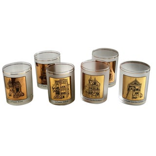 Gumps Rocks Glasses Barware San Francisco Set of 6