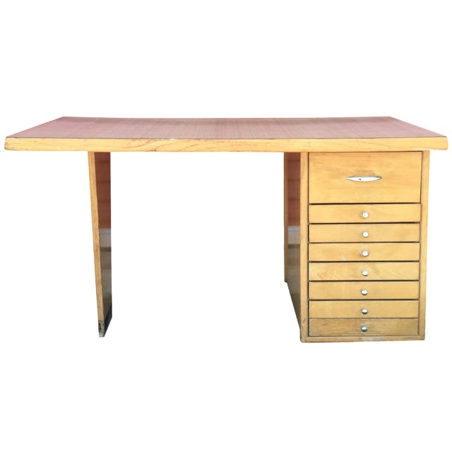 Mid-Century Modern Eight Drawer Desk - Image 1 of 11
