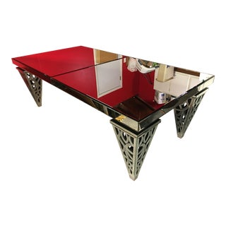 Beveled Mirror Dining Table With Ornate Mirror Legs