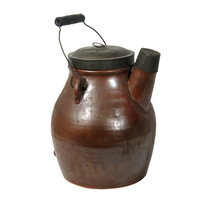 Antique Brown Pitcher With Lid - Image 1 of 6