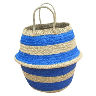"Brunna ""Stripes Tribes"" Blue Seagrass Beach Basket"