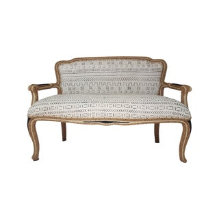 French Settee With Mudcloth & Sisal Roping